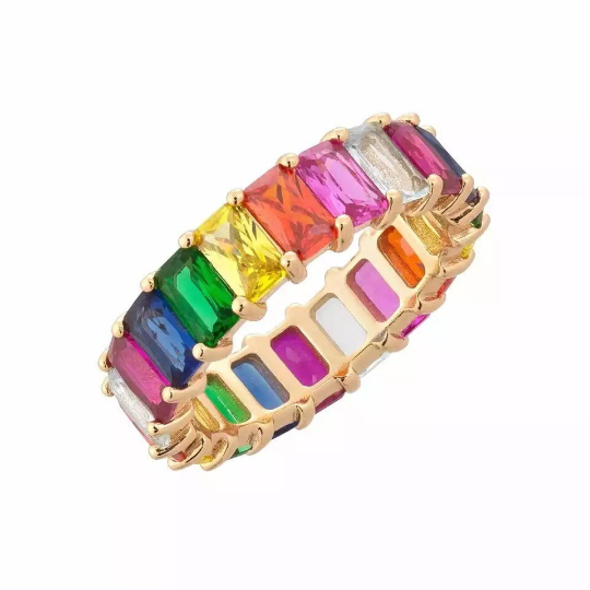 "Rainbow Baguette Eternity Band ""Rock Candy"" Ring"