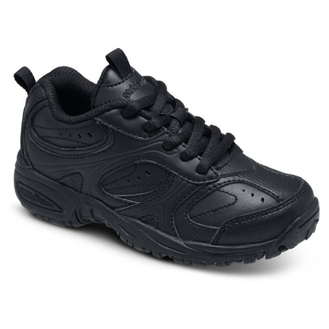 Cooper - Black Leather Velcro Athletic Tennis Shoe