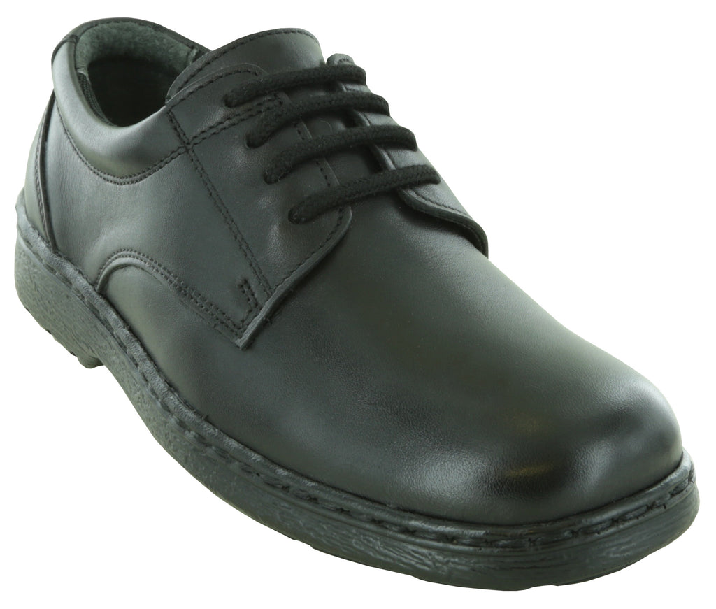 Sam - Youth's Black Leather Oxford