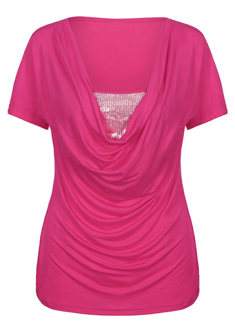 WOMENS SEQUINED SPLICING SHORT SLEEVE BLOUSE SC-BL10034
