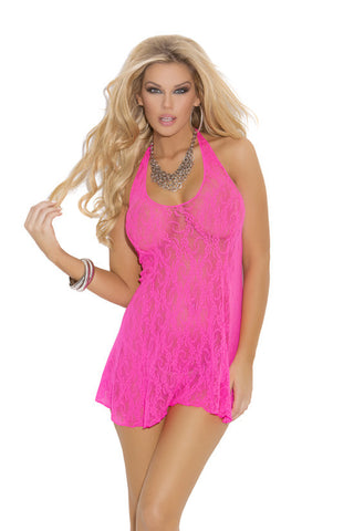 WOMENS LACE HALTER MINI DRESS SC1422