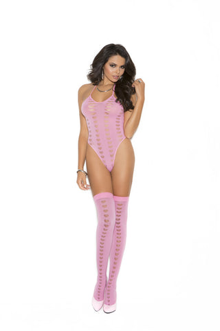 OPAQUE HALTER NECK TEDDY AND STOCKINGS