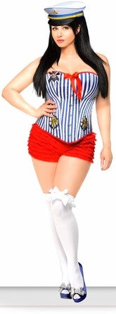 WOMEN'S 3 PC PIN-UP SAILOR HALLOWEEN COSTUME SCDCB1914
