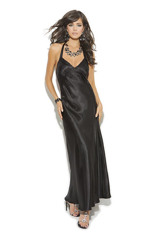 WOMENS CHARMEUSE SATIN HALTER NECK GOWN SC1919