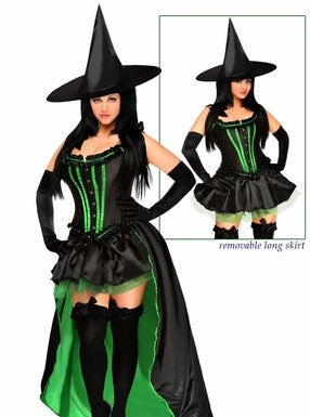 WOMEN'S 5 PC WICKED WITCH HALLOWEEN COSTUME SCDCB2017
