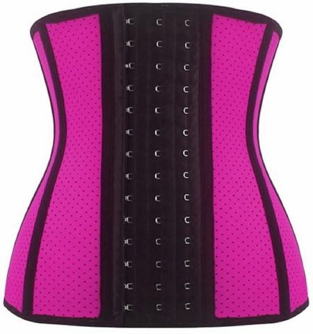 "SCD28-SLICKCHIX ""BREATHABLE HOLE PINK STEEL BONED LATEX SHAPER"" WAIST TRAINING CORSET"