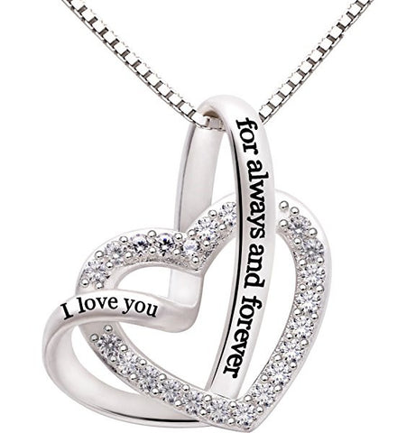 "STERLING SILVER ""I LOVE YOU FOR ALWAYS AND FOREVER"" LOVE HEART CUBIC ZIRCONIA NECKLACE"