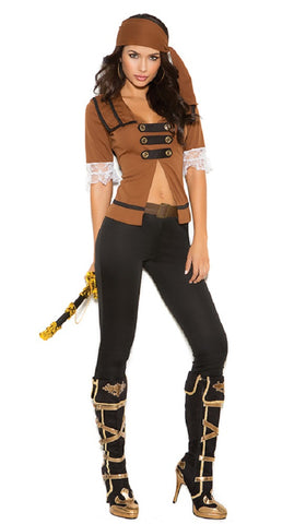 WOMENS 4 PC TREASURE PIRATE COSTUME SC9098