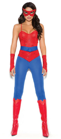 WOMENS 5 PC SPIDER SUPER HERO COSTUME SC9140