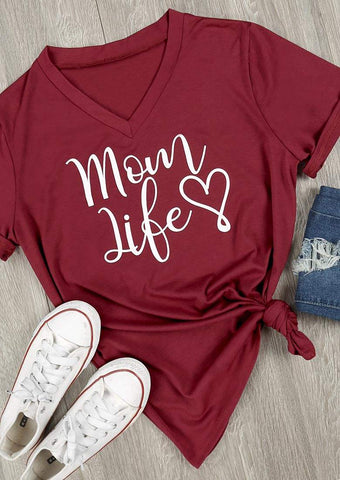 SC-BL0001-MOM LIFE HEART V-NECK T-SHIRT
