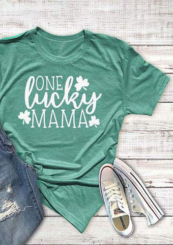 SC-BL0003-ONE LUCKY MAMA T-SHIRT