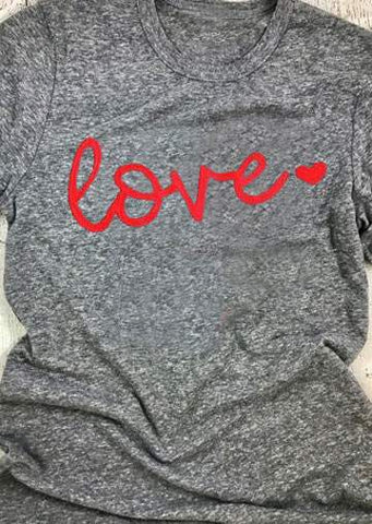 WOMENS LOVE HEART SHORT SLEEVE T-SHIRT SC-BL0009