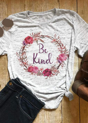 SC-BL0010-BE KIND FLORAL O-NECK T-SHIRT
