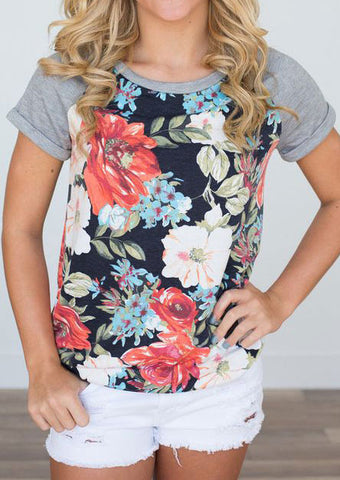 WOMENS FLORAL SHORT SLEEVE BASEBALL T-SHIRT SC-BL0072