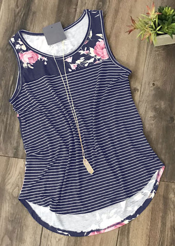 WOMENS FLORAL STRIPED SPLICING O-NECK TANK SC-BL0076