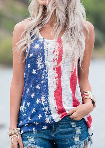 WOMENS AMERICAN FLAG O-NECK TANK SC-BL0213