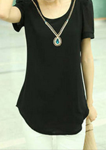 WOMENS CHIFFON SHORT SLEEVE BLOUSE SC-BL10002