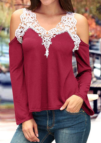 SC-BL10007-LACE FLORAL SPLICING COLD SHOULDER BLOUSE