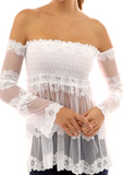 SC-BL10008-SOLID OFF SHOULDER LACE SEXY BLOUSE