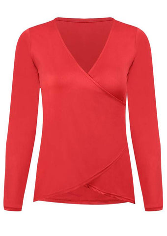 SC-BL10010-SOLID WRAP V-NECK LONG SLEEVE BLOUSE
