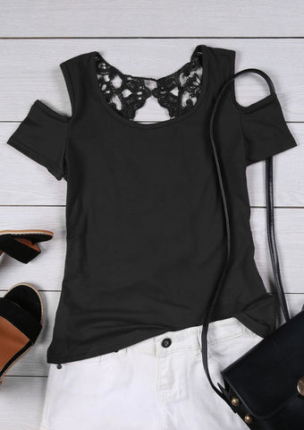 WOMENS SOLID LACE SPLICING COLD SHOULDER BLOUSE SC-BL10013