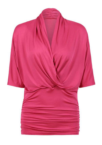SC-BL10015-SOLID WRAP V-NECK RUCHED BLOUSE