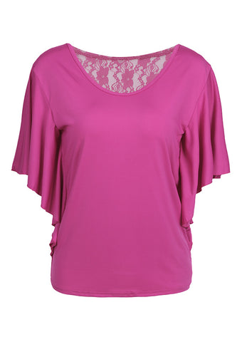 WOMENS SOLID LACE FLORAL SPLICING BLOUSE SC-BL10040