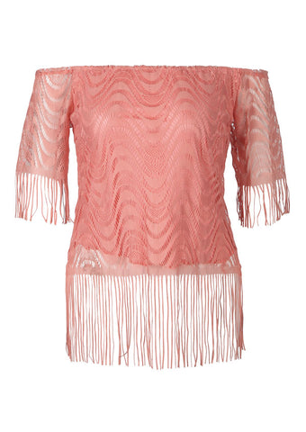 WOMENS SOLID OFF SHOULDER FRINGE BLOUSE SC-BL10056