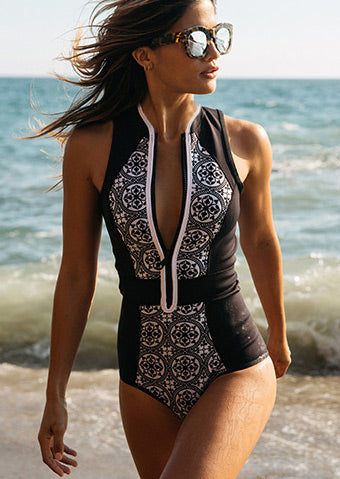 WOMENS ZIPPER PRINTED SWIMSUIT SC-BL1042