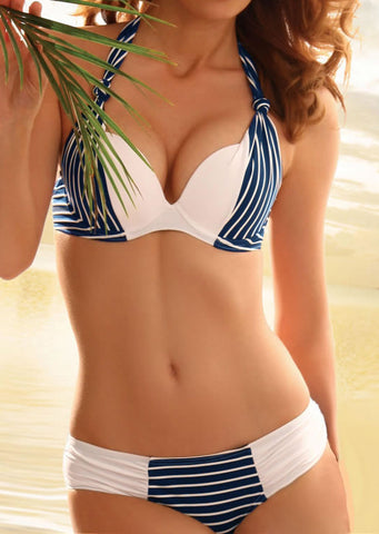WOMENS STRIPED SPLICING HALTER BIKINI SET SC-BL1081