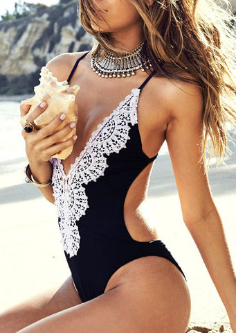 WOMENS LACE SPLICING SEXY ONE-PIECE SWIMSUIT SC-BL1096