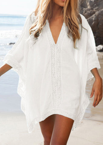 WOMENS SOLID LACE SPLICING BEACH COVER UP SC-BL1140