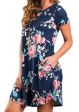 WOMENS FLORAL O-NECK POCKET MINI DRESS SC-BL3001