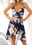 WOMENS FLORAL LACE UP CHIFFON SEXY MINI STRAP DRESS SC-BL3021