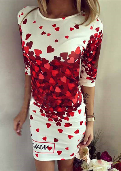 WOMENS HEART LETTER PRINTED CASUAL BODYCON DRESS SC-BL3022