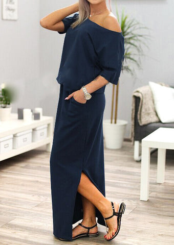 WOMENS SOLID SLIT MAXI DRESS WITHOUT NECKLACE SC-BL3038