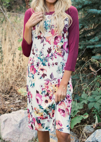 WOMENS FLORAL PRINTED SPLICING CASUAL DRESS SC-BL3040