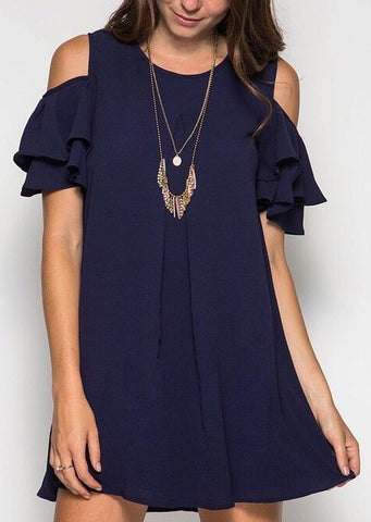 WOMENS SOLID LAYERED COLD SHOULDER MINI DRESS WITHOUT NECKLACE SC-BL3048