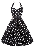WOMENS POLKA DOT HALTER CASUAL DRESS WITH BELT SC-BL3076