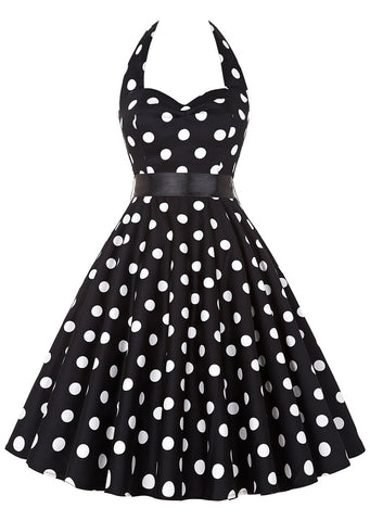 SC-BL3076-POLKA DOT HALTER CASUAL DRESS WITH BELT