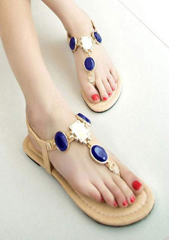 WOMENS CRYSTAL ELASTIC BAND FLAT SANDALS SC-BL7003