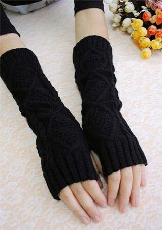 WOMENS SOLID KNITTED FINGERLESS WARM GLOVES SC-BL9003