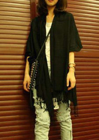 WOMENS SOLID FRINGE SOFT WARM SCARF SC-BL9006