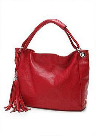 WOMENS SOLID TASSEL LEATHER SHOULDER BAG SC-BL9008