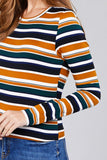 Ladies fashion plus size long sleeve crew neck multi striped dty brushed top