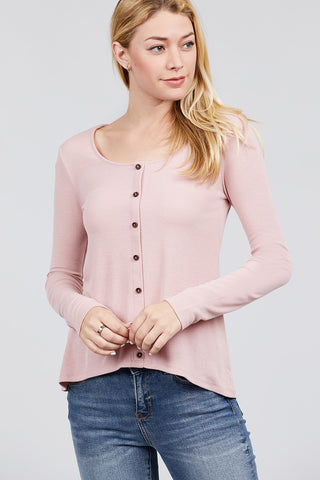 Long Sleeve Round Neck Button Detail Rib Knit Top