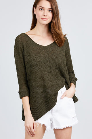 3/4 Sleeve Side Slits Fish Net Sweater Top