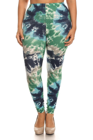 Plus Size Tie Dye Print, Full Length Leggings In A Fitted Style With A Banded High Waist
