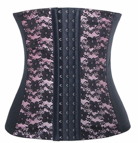 "SLICKCHIX ""PINK & BLACK LACE STEEL BONED ELASTIC"" WAIST TRAINER"