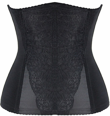 WOMENS BLACK LACE OVERLAY STEEL BONED WAIST TRAINING CORSET SCD11